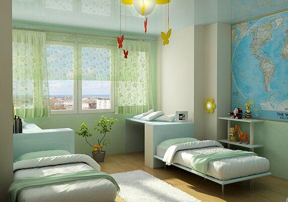 Детская комната в нежных салатовых тонах